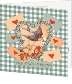 Romantische trouwkaarten - trouwkaart swallow with heart vk