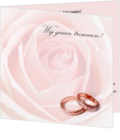 Trouwkaarten met ringen - trouwkaart 2 rings on rose pink, vk