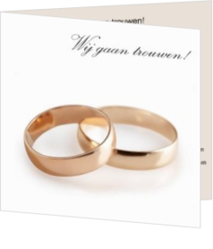 Trouwkaarten met ringen - trouwkaart golden rings on white, vk