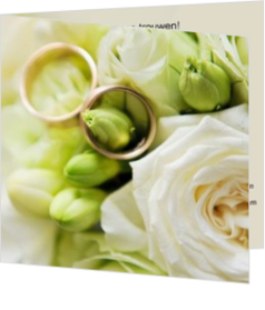 Trouwkaarten met ringen - trouwkaart 2 rings in white flowers, vk