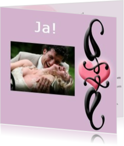 Trouwkaarten met foto - trouwkaart own picture on pink with heart, vk