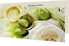 Trouwkaarten met ringen - trouwkaart 2 rings in white flowers, ll
