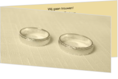 Trouwkaarten met ringen - trouwkaart rings on yellow, ll