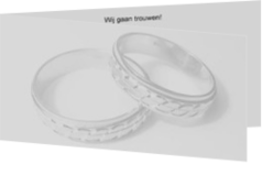 Trouwkaarten met ringen - trouwkaart rings on grey, ll