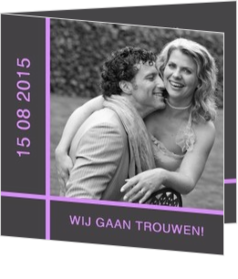 Trouwkaarten met foto - trouwkaart own picture on grey with purple lines, vk