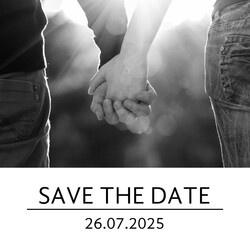 Save the date kaart strak met foto Voorkant